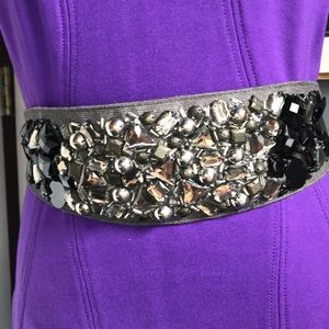 J. Crew Black/Silver Embellished Ribbon Sash Belt